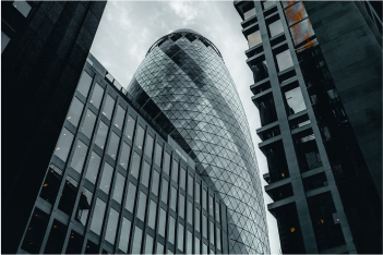 Low-angle photograph of Gherkin building, London