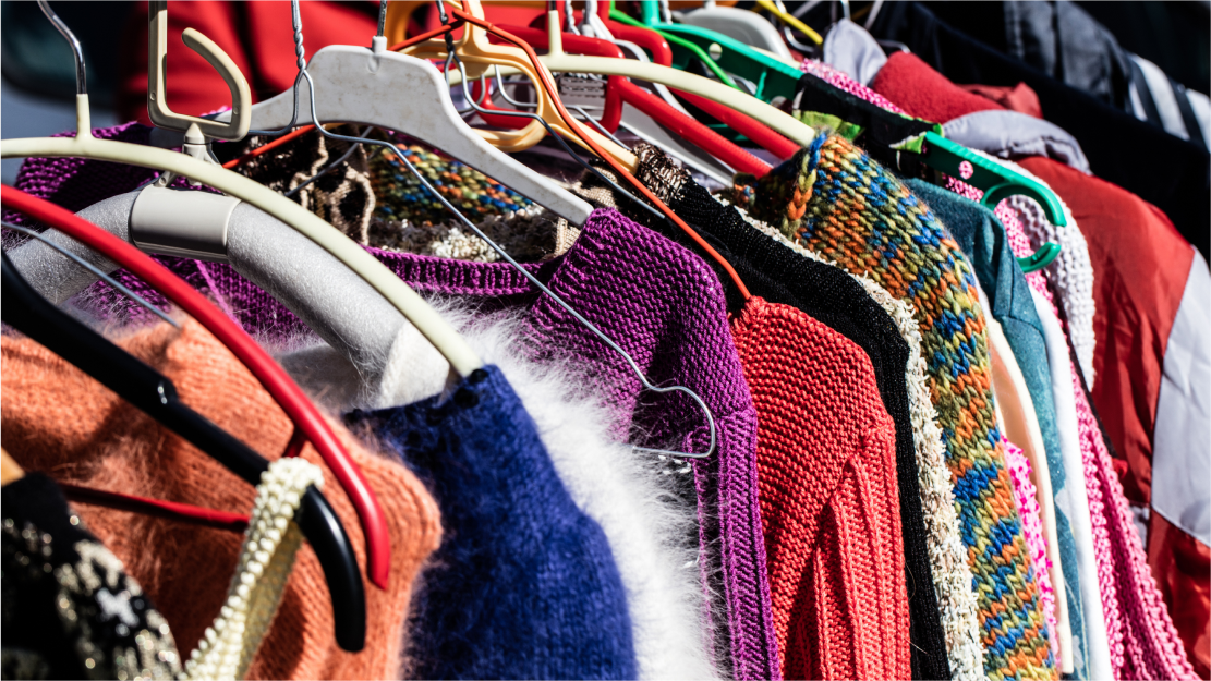 Colourful clothes rack