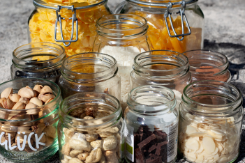 Reusable glass jars being to store various goods.