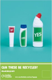 London Recycles graphic: can these be recycled? Various plastic cleaning detergent bottles