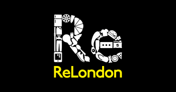 ReLondon logo - white graphic with yellow company name on a black ground
