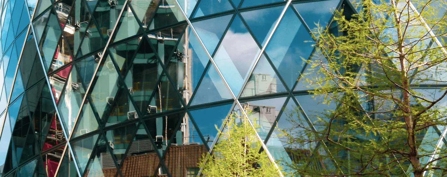 Gherkin building found in the middle of London's financial headquarters. Mainly made of glass and steel. Tree covers right-hand side of image
