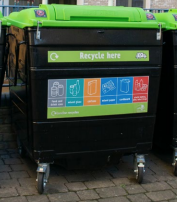 Making recycling work for people in flats: image of large recycling bins