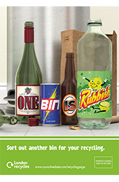 One bin is rubbish A4 poster artwork thumbnail image