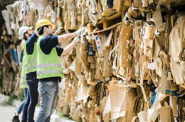 Male coworkers stacking cardboard at warehouse. Men are working at recycling center. They are wearing reflective clothing.
