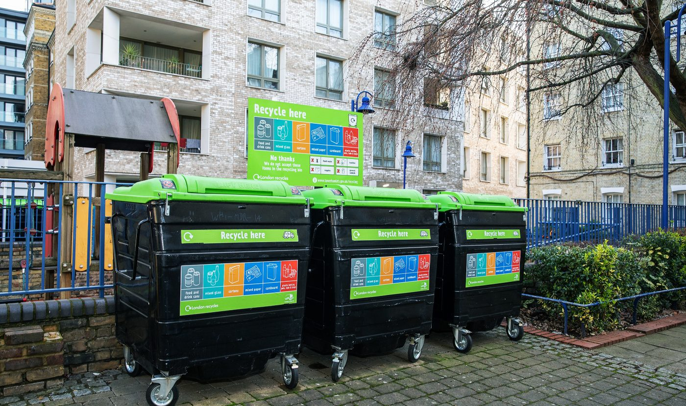 London Recycles. New recycling bins on the Whitechapel Estate. Tower Hamlets.